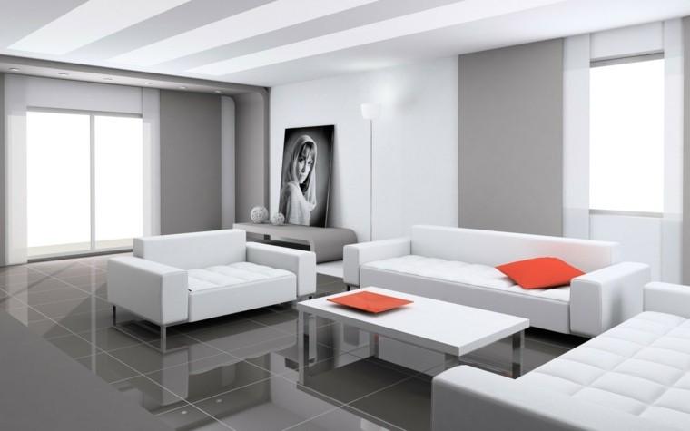 déco minimaliste salon fauteuil blanc cadre coussins rouges