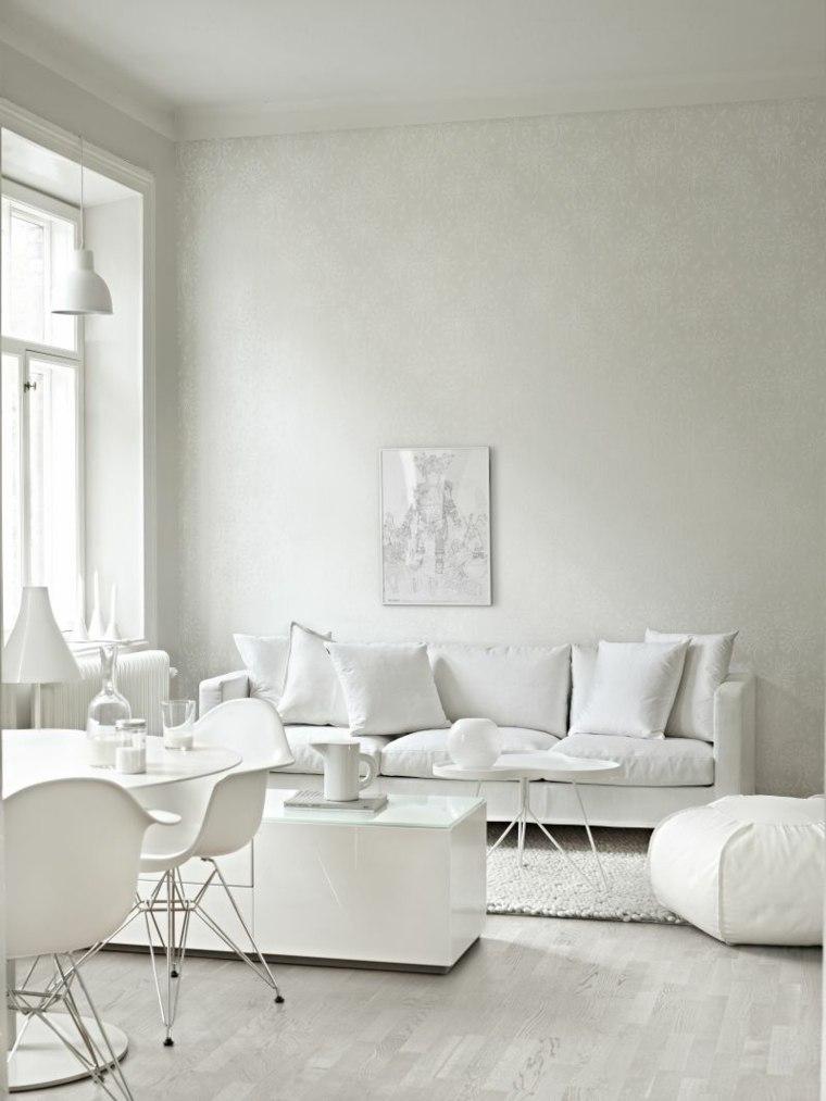 déco salon blanc canapé design blanc coussins déco fauteuil blanc chaise table salle à manger en blanc