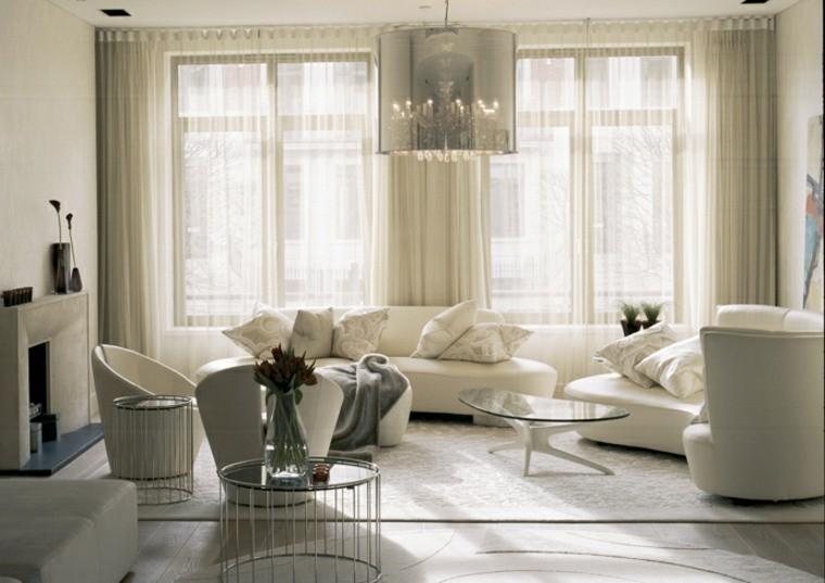 déco salon moderne luminaire suspension design canapé blanc fleurs roses déco florale