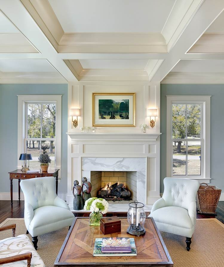 decoration salon bleu clair