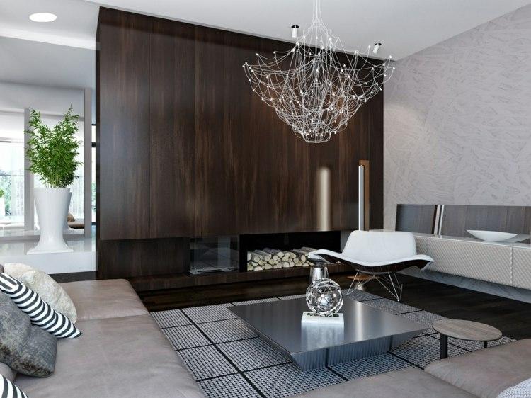 decoration salon moderne cheminee
