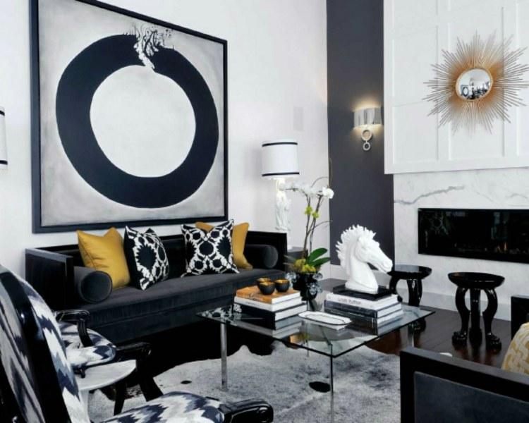 decoration salon noir blanc cheminee