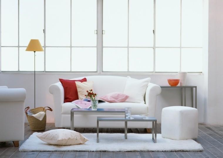 canapé blanc design coussins idée déco luminaire tapis de sol blanc pouf
