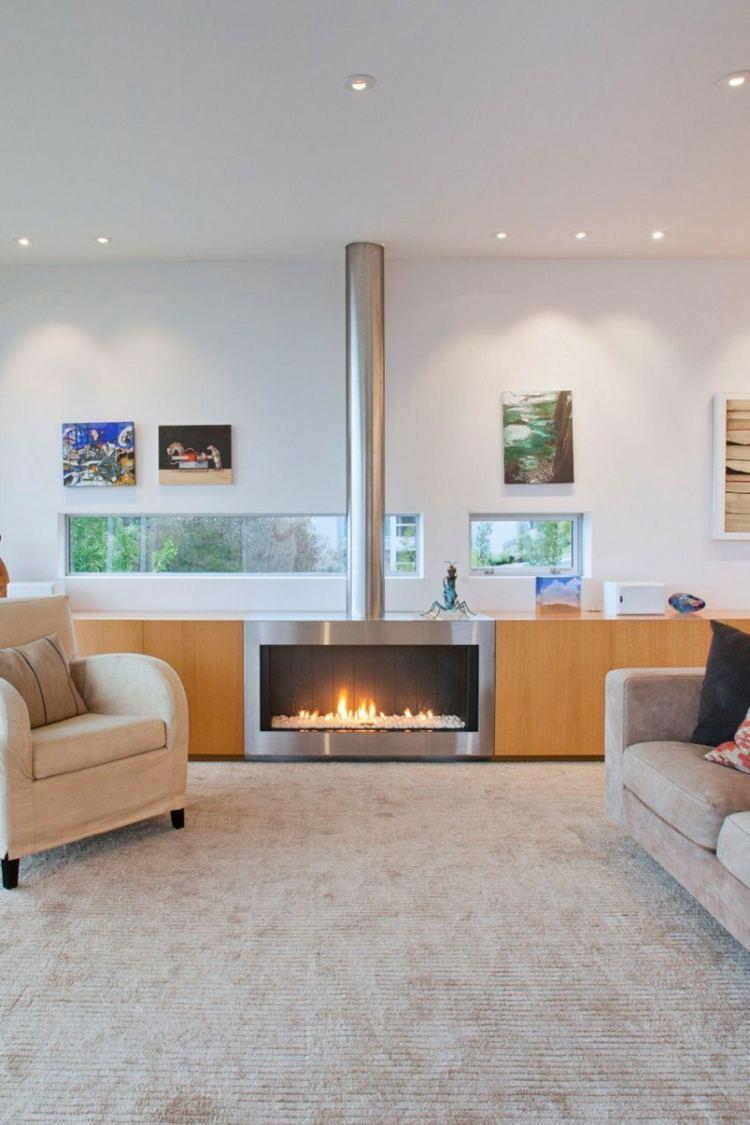 idee deco salon moderne cheminee