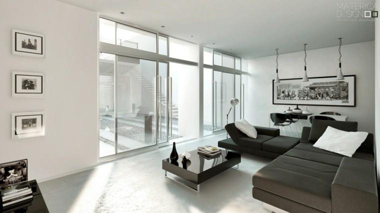 salon intérieur design cadre mur déco canapé noir idée luminaire en suspension