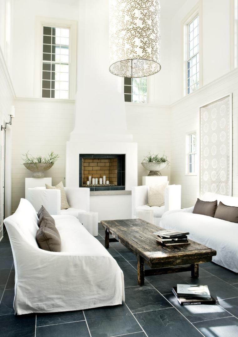 intérieur salon moderne canapé blanc table en bois rustique luminaire carrelage cheminée