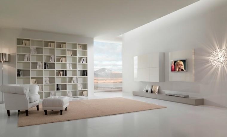 design d'intérieur salon déco tapis de sol rose bibliothèque meuble blanc laqué