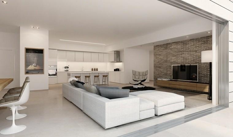 déco salon canapé blanc d'angle design fauteuil cuisine ouverte idée aménagement