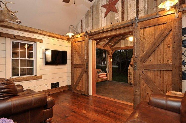 porte coulissante bois deco salon moderne