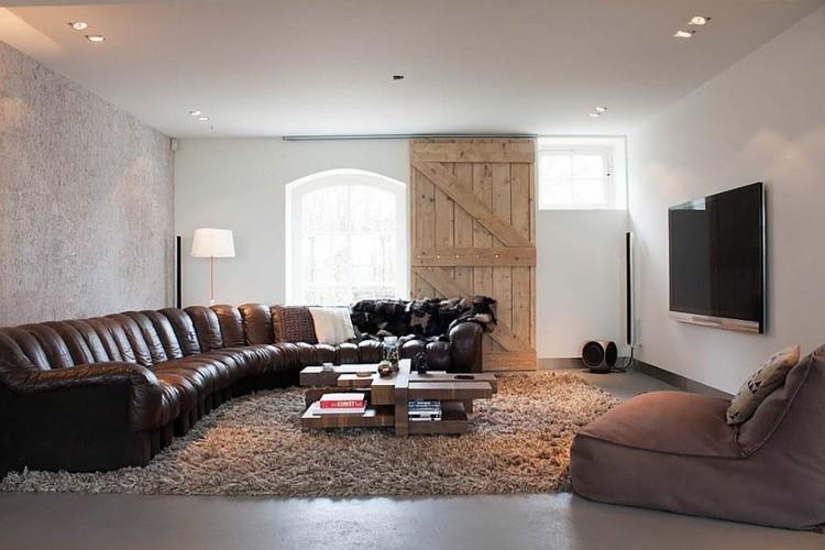 porte coulissante bois salon elegant