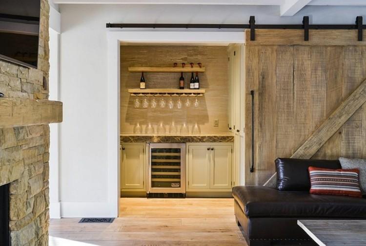 porte coulissante bois style rustique