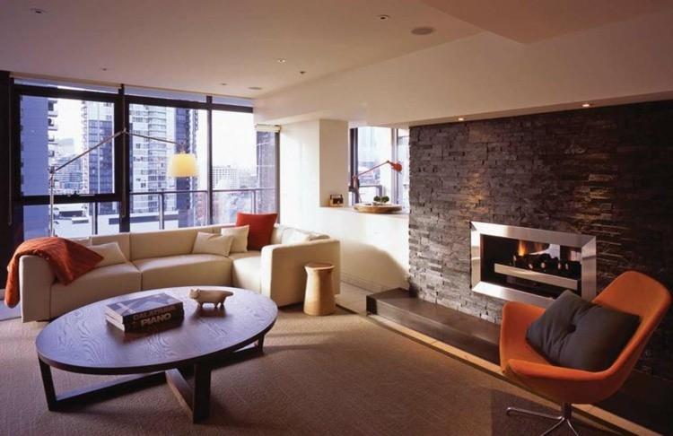 salon cheminee contemporain elegant