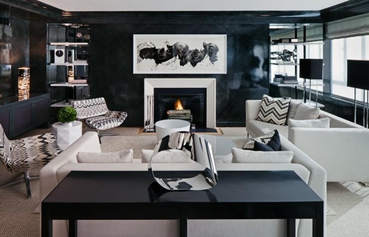 salon cheminée deco noir blanc