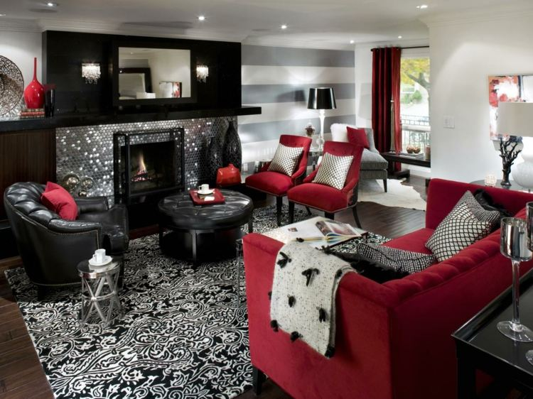 salon cheminée decoration moderne