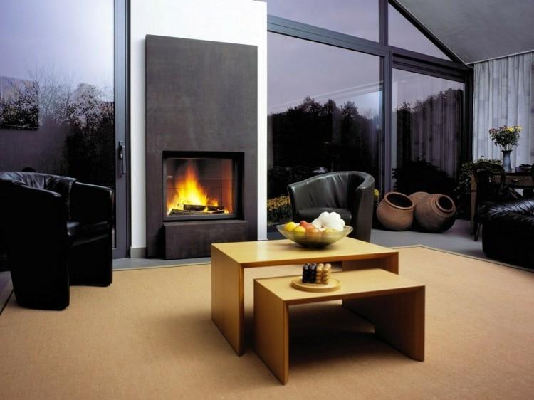 salon cheminée design elegant moderne