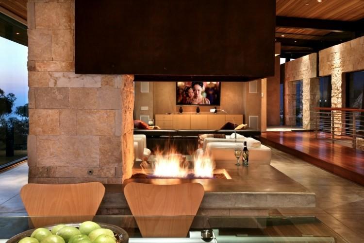 salon cheminée design elegant