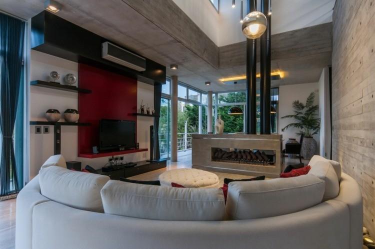 salon cheminée design moderne