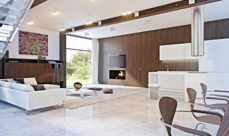 salon cheminée design ultra moderne