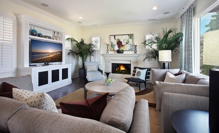 salon cheminée elegant moderne