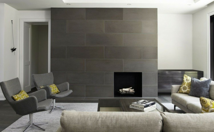 salon cheminee grise idee