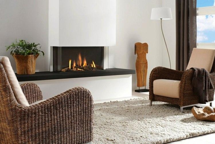 salon cheminee meubles rotin