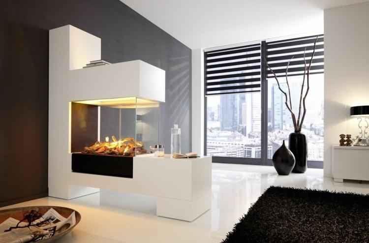 salon cheminée noir blanc