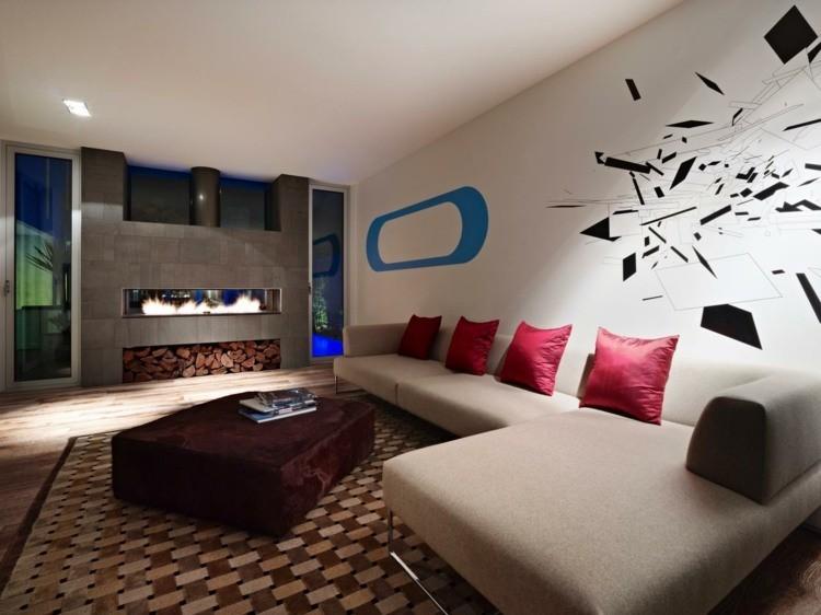 salon deco design cheminee