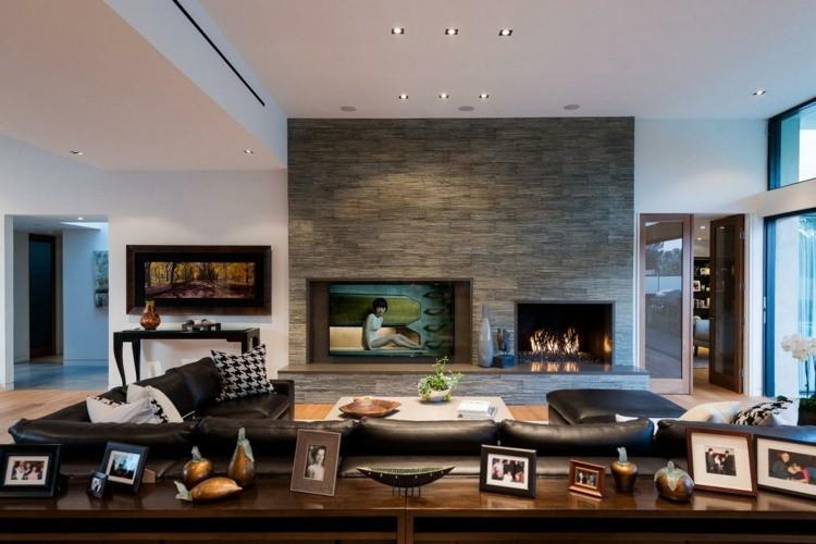 salon design elegant cheminee