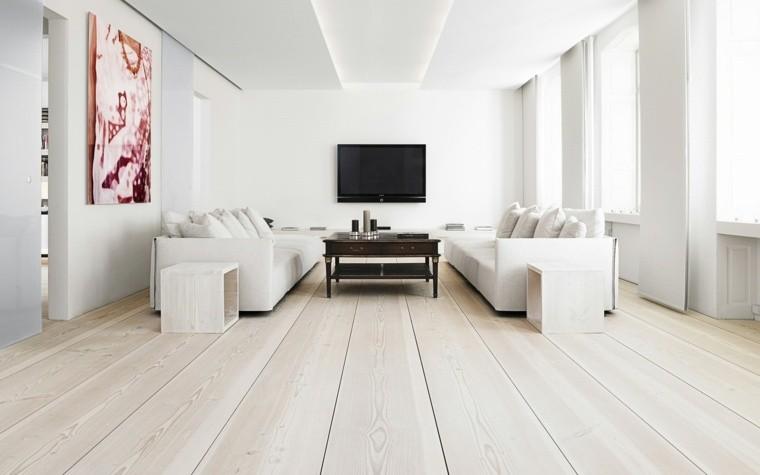 décoration intérieure moderne cadre canapé blanc design parquet bois télé meuble tv