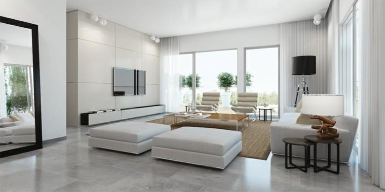 tapis de sol beige pouf blanche design intérieur salon aménagement cadre miroir lampe