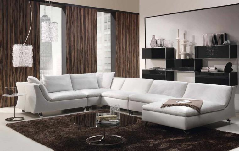 déco salon blanc marron canapé angle coussin idée déco meuble