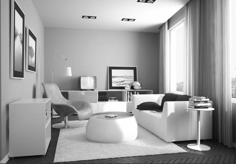 salon moderne aménagement intérieur tableau déco mur cadre tapis de sol blanc