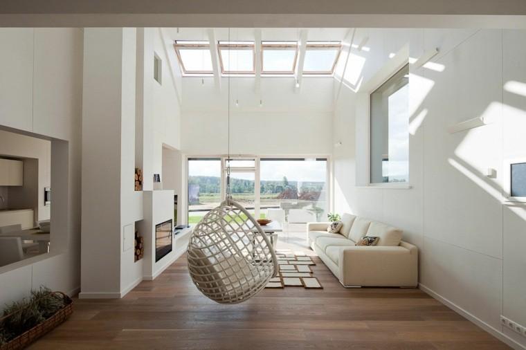 fauteuil suspendu design canapé tapsi de sol parquet bois moderne intérieur contemporain