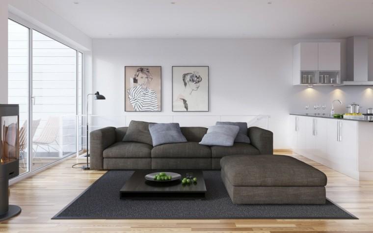 aménagement de cuisine ouverte salon meubles gris