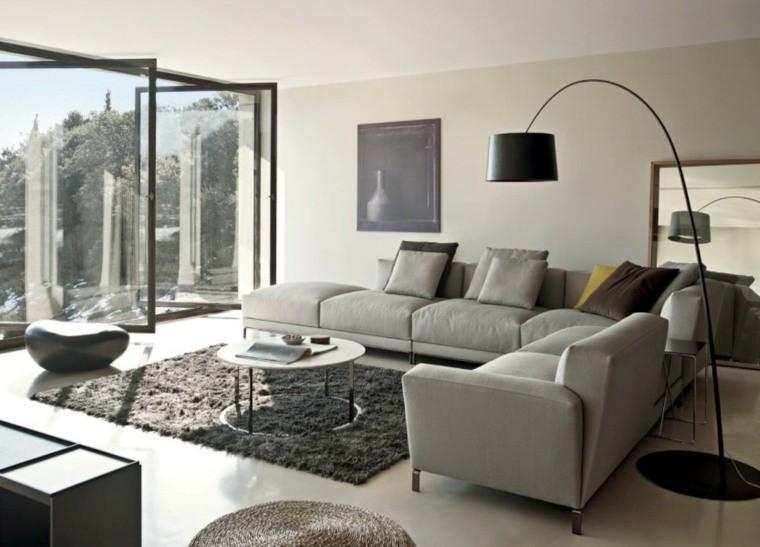 decoration moderne salon canapés gris d'angle