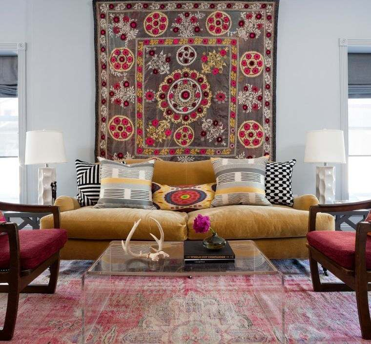 déco murale salon tapisserie-boheme-chic-idee