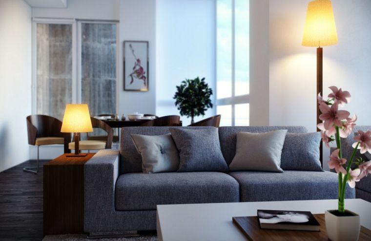 deco moderne salon canapes gris fonce