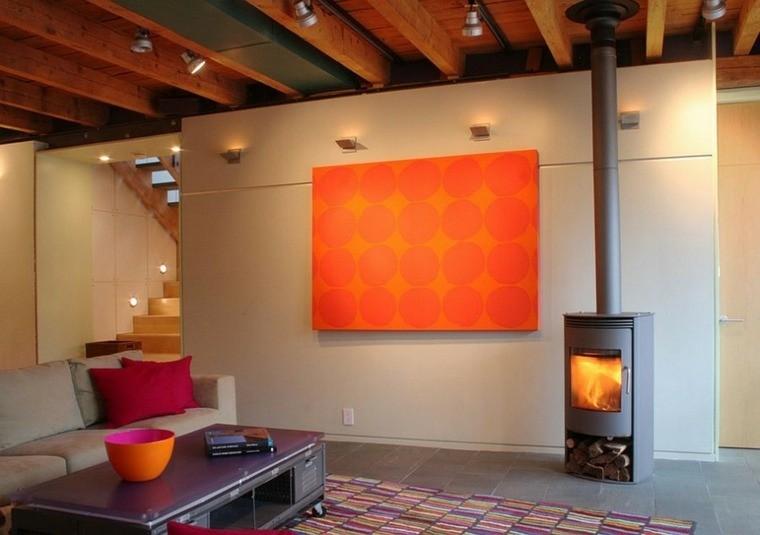 deco salon murale panneau orange