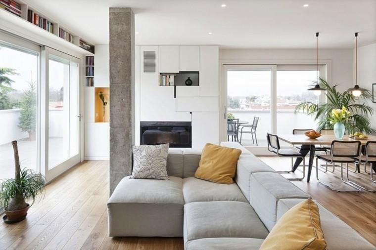 maison moderne meuble salon gris