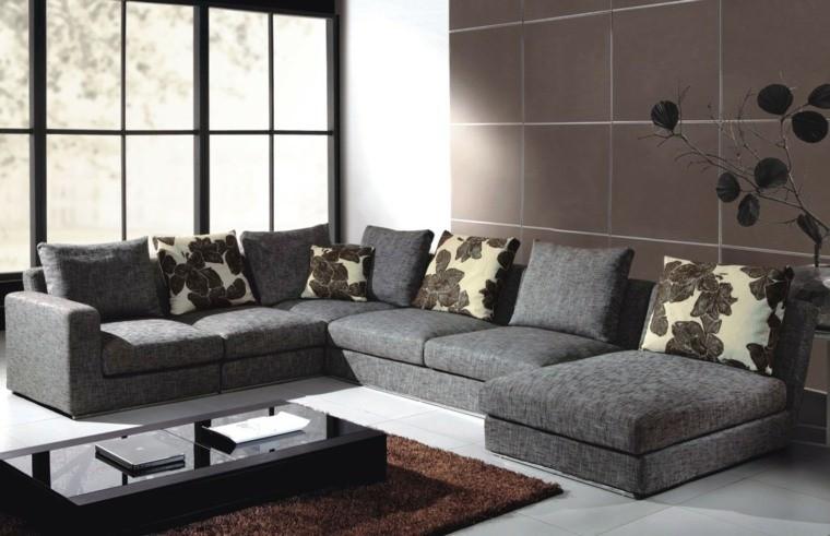 couleur tendance salon canape d'angle gris