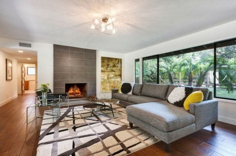 decoration salon contemporain sofa design gris