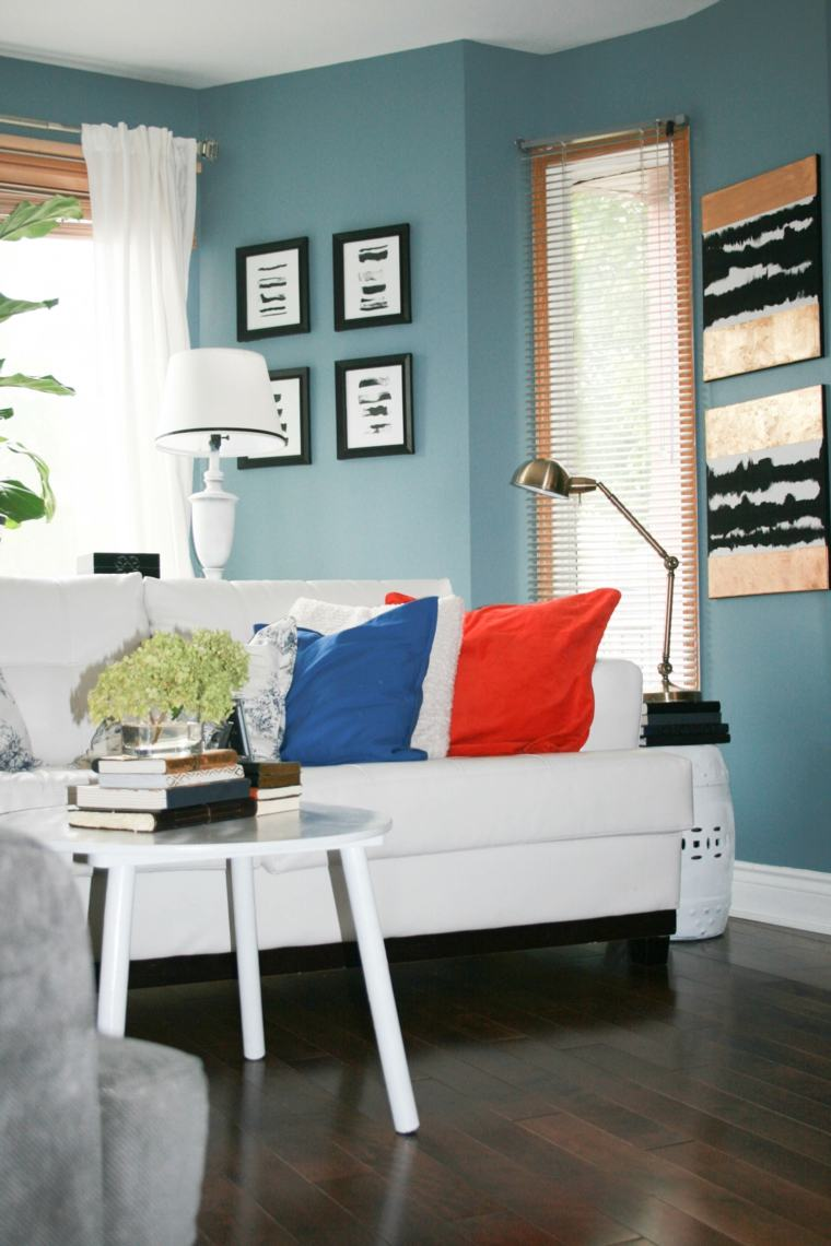 decoration salon murs bleu