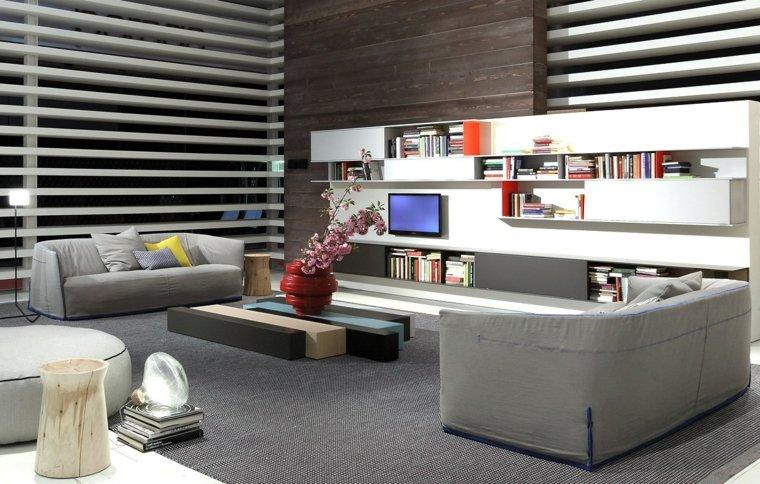 déco moderne canapes gris meuble salon bois table basse
