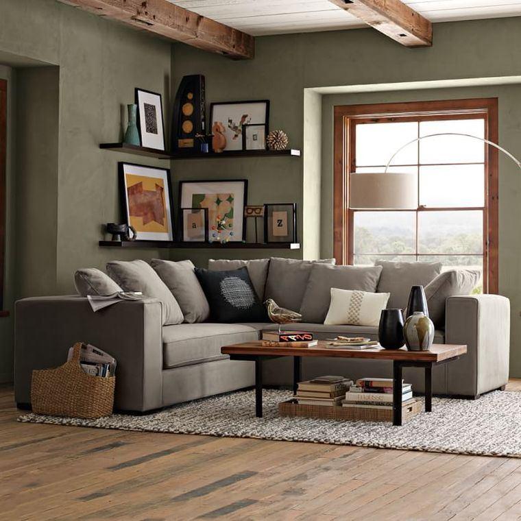 aménagment interieur moderne canape gris d'angle