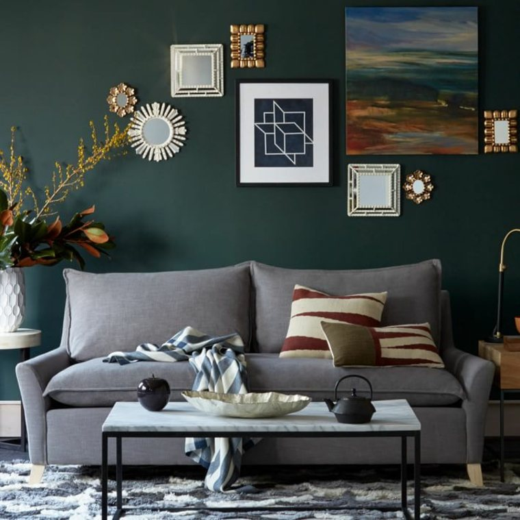 petits canapes salon bleu moderne