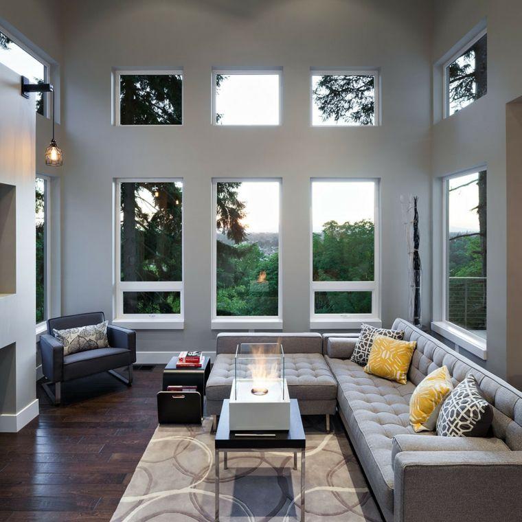 sofa gris deco salons modernes