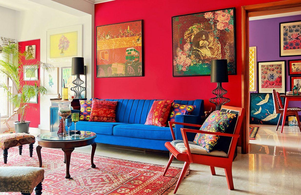 Salon indien Rouge, bleu et noir