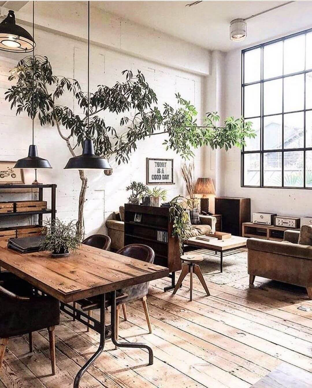 Salon industriel rustique et confortable