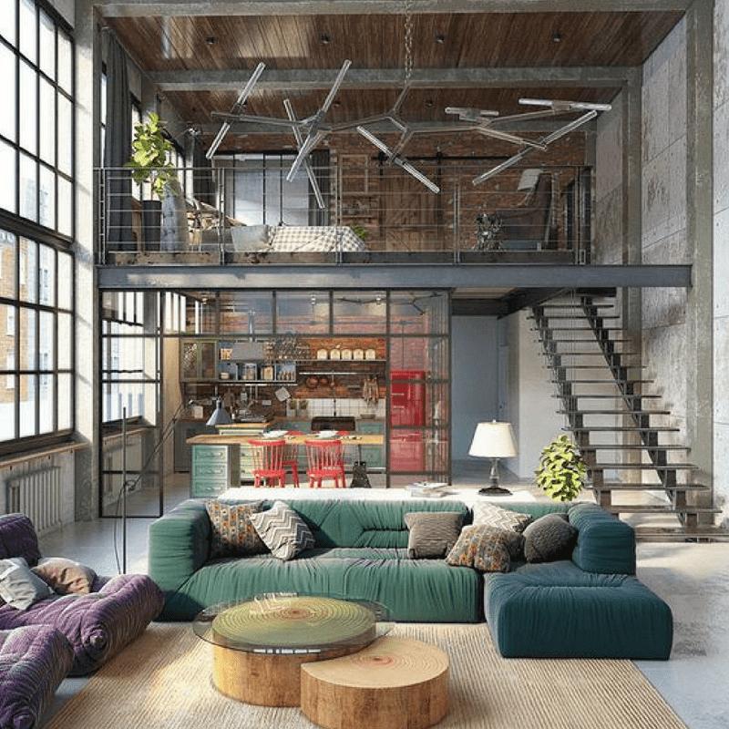Salon rustique en béton de style industriel