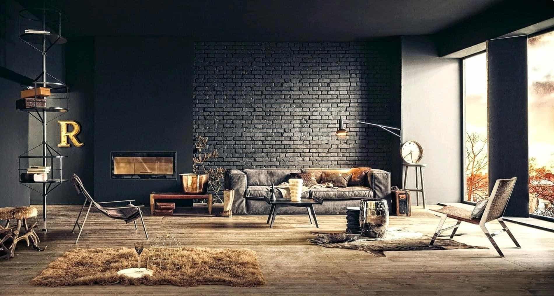 Idée de salon industriel à thème noir